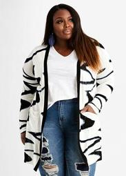 Abstract Open Front Cardigan