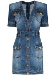short stonewashed denim dress