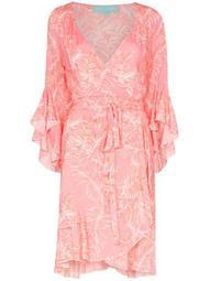 Kirsty ruffled palm-print wrap dress
