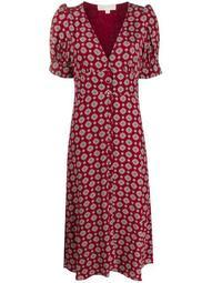 tile-print button-through midi dress