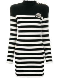 velvet-effect striped dress
