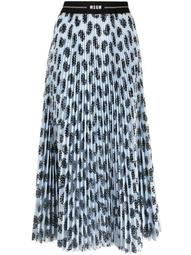 pleated graphic-print midi skirt