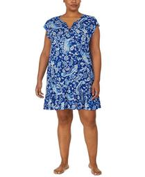 Plus Size Printed Ruffle-Trim Nightgown