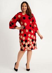 Dot Colorblock Flare Sleeve Dress