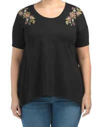 Plus Short Sleeve Floral Embroidered Top