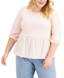 Plus Size Clip-Dot Peplum-Hem Top, Created for Macy's