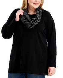 Plus Size Removable-Scarf Top, Created for Macy's