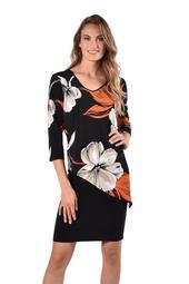 Black Orange Knit Jersey Dress