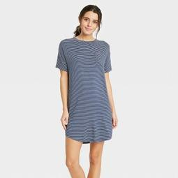 Women's Striped Short Sleeve Beautifully Soft Nightgown - Stars Above™ Navy