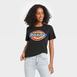 Women's Dickies Logo Cropped Short Sleeve Graphic T-Shirt - Black