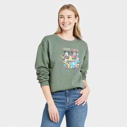 Women's Disney Mickey and Friends Graphic Sweatshirt - Green