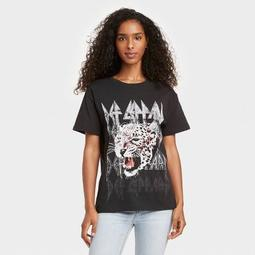 Women's Def Leppard Animal Print Short Sleeve Graphic T-Shirt - Black