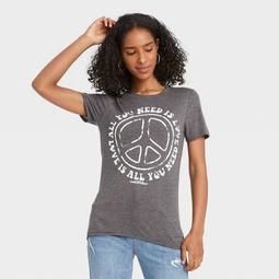 Women's The Beatles All You Need is Love Short Sleeve Graphic T-Shirt - Heather Gray