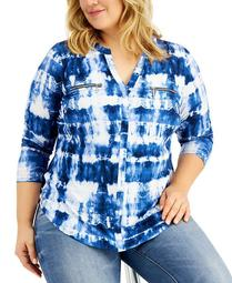 INC Plus Size Tie-Dye Zip-Pocket Top, Created for Macy's