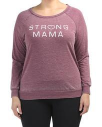 Plus Strong Mama Burnout Sweatshirt