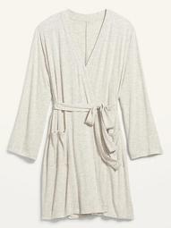 Ultra-Soft Jersey Plus-Size Tie-Belt Robe