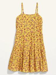 Sleeveless Tiered Printed Plus-Size Swing Dress