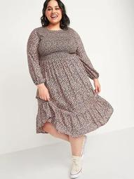 Smocked Floral-Print Fit & Flare Plus-Size Midi Dress