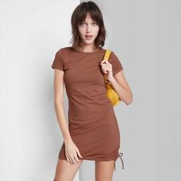 Women's Short Sleeve Ruched Side Bodycon Dress - Wild Fable™