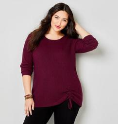 Cinched Front Rib Sweater - burgundy