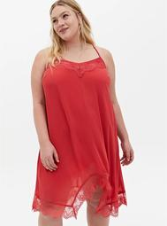 Cranberry Red Crinkle Chiffon Lace Trim Sleep Chemise