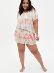 Super Soft Coral Tie-Dye Sleep Short
