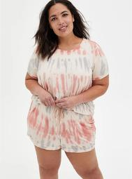 Super Soft Coral Tie-Dye Sleep Tee