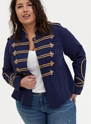 Navy Twill Crop Military Peplum Coat