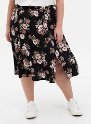 Black Floral Stretch Challis Slit A-Line Midi Skirt