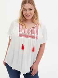 White & Pink Crinkle Gauze Embroidered Blouse
