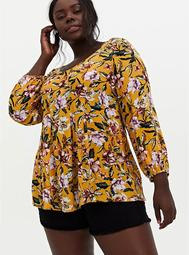 Golden Yellow Floral Crinkled Gauze Fit & Flare Top