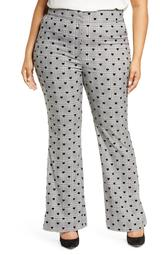 x Atlantic-Pacific Heart Flocked Plaid Flare Pants