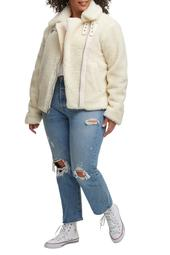 All Over Faux Shearling Asymmetrical Motorcycle Jacket