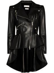 peplum-hem asymmetric biker jacket