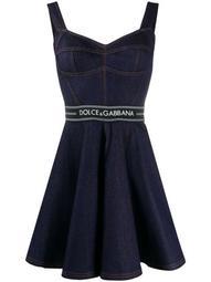 flared denim mini dress