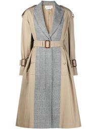 panelled mid-length trench coat