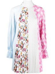 multi-print pleated dress