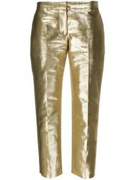 metallic-effect straight-leg trousers