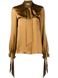 long-sleeve pussy-bow blouse