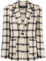 checked cotton blazer