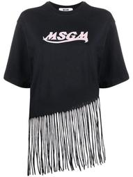 fringed logo-print T-shirt