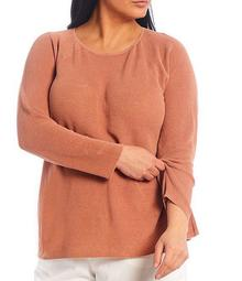 Plus Size Organic Line Cotton Crew Neck Raglan Sleeve Top