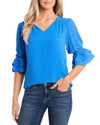 Ruffled Clip Dot Blouse