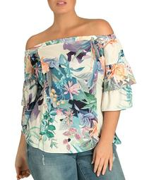 Jungle Print Off-the-Shoulder Top