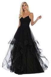 Black Shimmer Layered Long Formal Dress