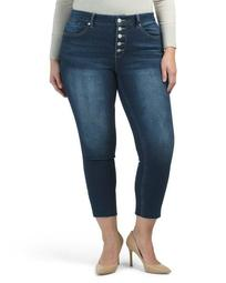 Plus Exposed Button Jeans With Raw Hem