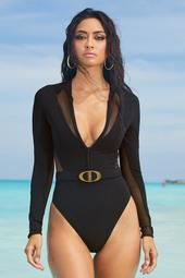 Long-Sleeve One-Piece Crew-Neck Surf Suit
