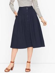 Button Front Poplin Skirt