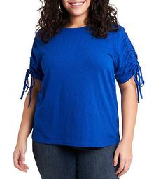 Plus Size Ruched Short Sleeve Cotton Tee