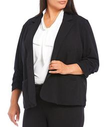 Plus Size French Terry Knit Notch Lapel 3/4 Sleeve One Button Jacket